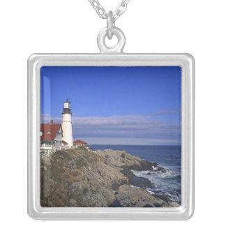 Portland Head Light Lighthouse Maine Square Pendant Necklace