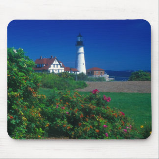 Portland Head Lighthouse and beach roses Mouse Mat