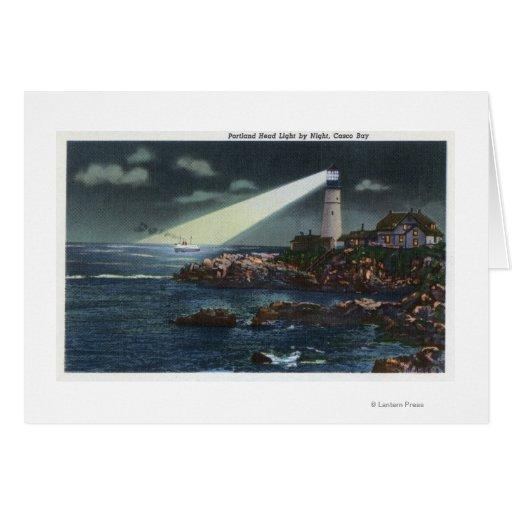 Portland Head Lighthouse at Night Greeting Card
