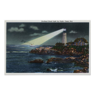 Portland Head Lighthouse at Night Posters