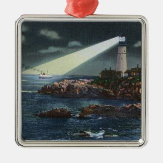 Portland Head Lighthouse at Night Silver-Colored Square Decoration