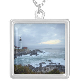 Portland Head Lighthouse at Sunrise Silver Plated Necklace