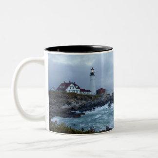 Portland Head Lighthouse at Sunrise Two-Tone Mug