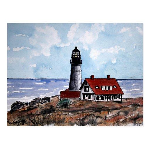 portland head lighthouse maine post card