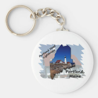 Portland Head Lighthouse Maine Silhouette Basic Round Button Key Ring