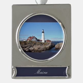 Portland Head Lighthouse Maine Silver Plated Banner Ornament