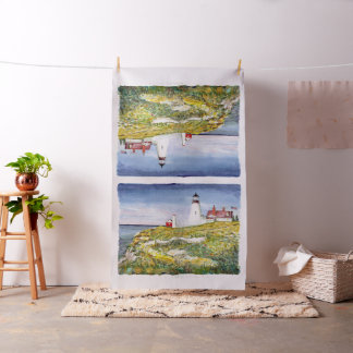 Portland Head Lighthouse Maine Watercolor Painting Fabric