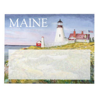 Portland Head Lighthouse Maine Watercolor Painting Scratch Pad