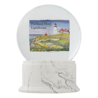Portland Head Lighthouse Maine Watercolor Painting Snow Globes