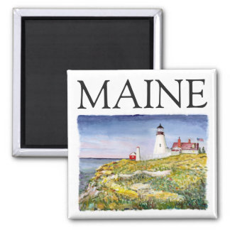 Portland Head Lighthouse Maine Watercolor Painting Square Magnet