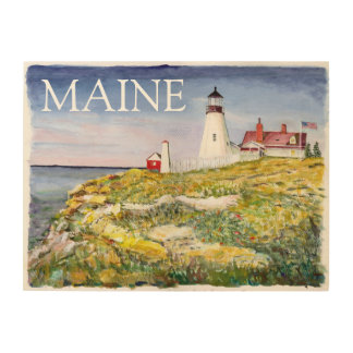 Portland Head Lighthouse Maine Watercolor Painting Wood Canvas