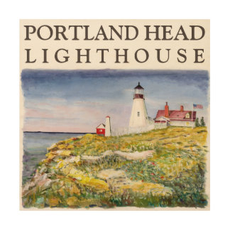 Portland Head Lighthouse Maine Watercolor Painting Wood Canvases