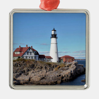 Portland Head Lighthouse Silver-Colored Square Decoration