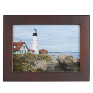 Portland Headlight lighthouse on rocky shore Memory Boxes