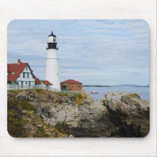 Portland Headlight lighthouse on rocky shore Mousepads