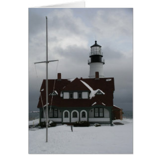 Portland Lighthouse in Snow Card