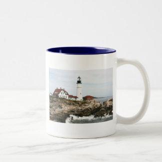 Portland lighthouse Two-Tone coffee mug