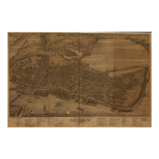 Portland Maine 1876 Antique Panoramic Map Poster