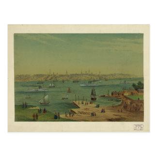 Portland Maine Harbor in 1854 by W. S. Hatton Postcard