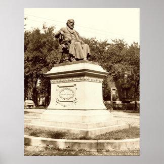 Portland, Maine Longfellow Monument circa 1900 Print