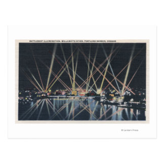 Portland, OR - Battleship Illumination Postcard