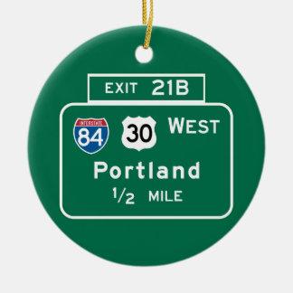 Portland, OR Road Sign Round Ceramic Decoration