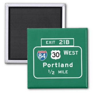 Portland, OR Road Sign Square Magnet