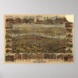 Portland Oregon 1890 Antique Panoramic Map Poster