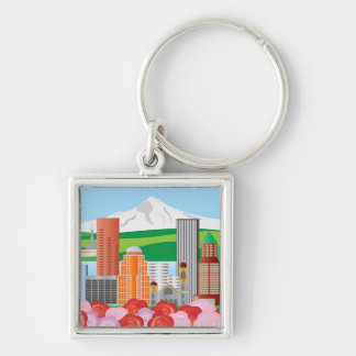 Portland Oregon Cityscape Keychain