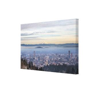 Portland Oregon Downtown Foggy Cityscape Skyline Gallery Wrap Canvas