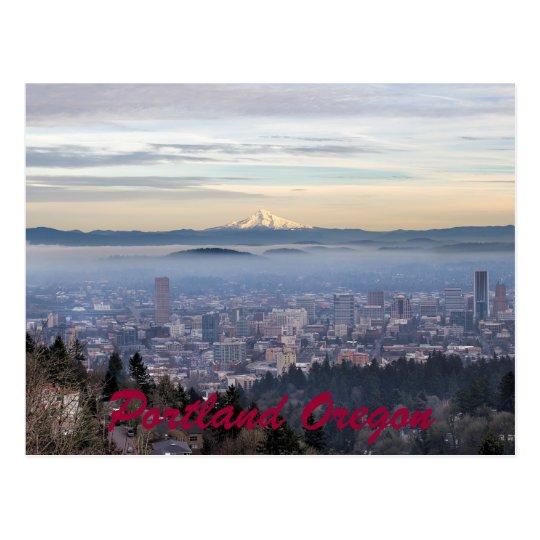 Portland Oregon Downtown Foggy Cityscape Skyline Postcard