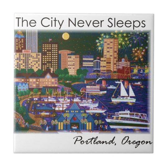 Portland Oregon @ Night Small Square Tile