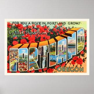 Portland Oregon OR Old Vintage Travel Souvenir Poster