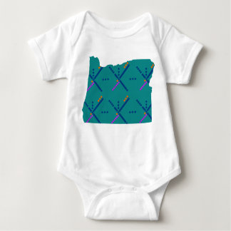 Portland Oregon PDX Airport Carpet Baby Bodysuit