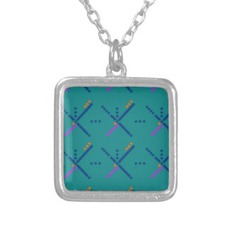 Portland Oregon PDX Airport Carpet Silver Plated Necklace