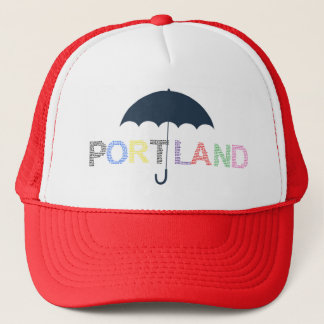 Portland Rain Weather Red Baseball Cap Trucker Hat