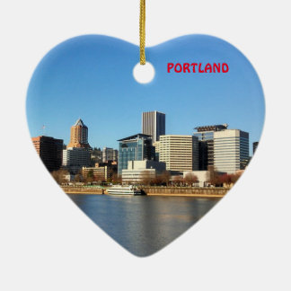 Portland Scenic Christmas Heart Ornament