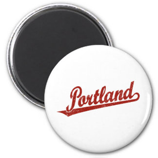Portland script logo in red distressed refrigerator magnets