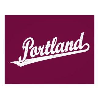 Portland script logo in white distressed 21.5 cm x 28 cm flyer