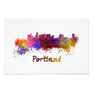 Portland skyline in watercolor
