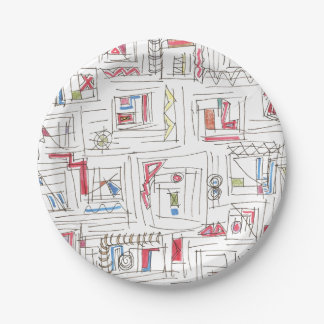 Portland-Whimsical Abstract Doodle Pattern Paper Plate