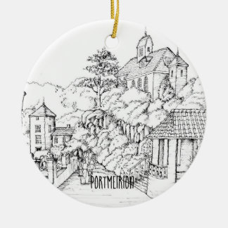 Portmeirion North Wales Pen and Ink Sketch Christmas Ornament