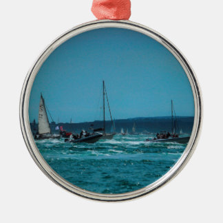 Portmouth Harbour Boat Race Silver-Colored Round Decoration