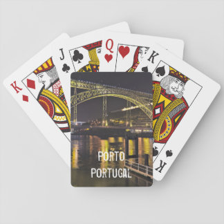 Porto - Portugal. Night Scene Near Douro River Playing Cards