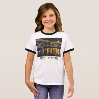 Porto - Portugal. Night Scene Near Douro River Ringer T-Shirt