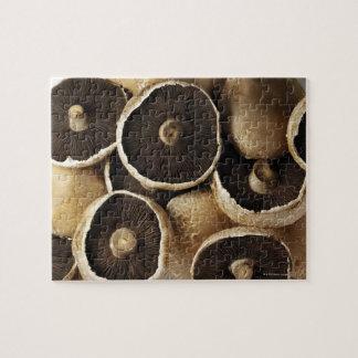 Portobello Mushrooms on White Background Puzzle