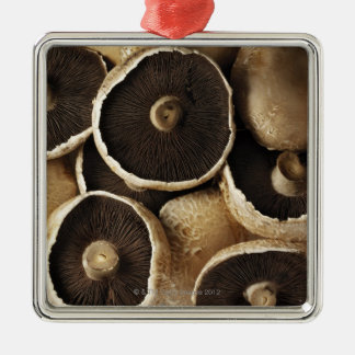 Portobello Mushrooms on White Background Silver-Colored Square Decoration