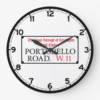 Portobello Road, London Street Sign Large Clock