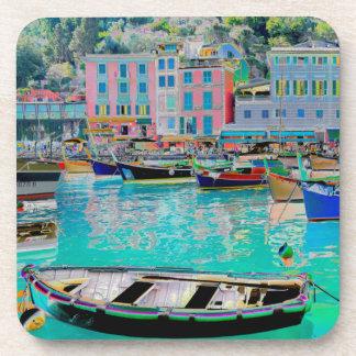 Portofino am Hafen Foto verändert Solarisation Drink Untersetzer