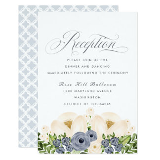 Portofino Blue and Cream Floral Wedding Reception Card